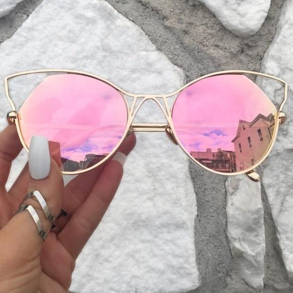 e07205d2b TopFoxx Accessories | Indecent Cateye Sunnies Rose Gold Sunglasses ...
